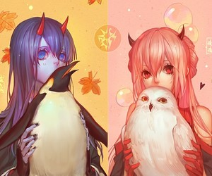 anime, owl, and penguin image
