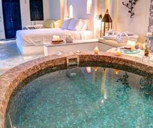 bedroom, home, and pool image