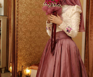 flowers, hijab, and bride image