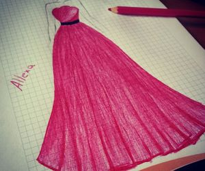 drawing, dress, and long dress image