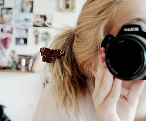 girl, camera, and butterfly image