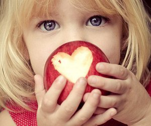 apple, heart, and child image