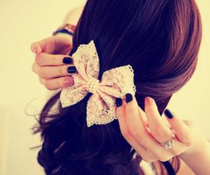 hair, bow, and nails image