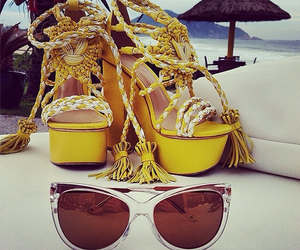 beach, glasses, and shoes image