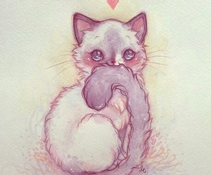 cat, cute, and drawing image