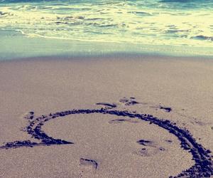 beach, love, and heart image