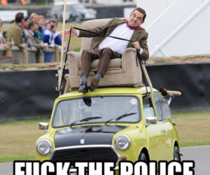 funny, mr bean, and fuck the police image