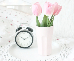 clock, flowers, and pink image