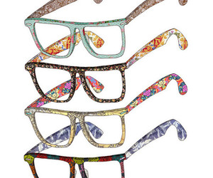 glasses, art, and flowers image