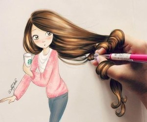 shy, draw, and long hair image