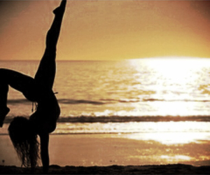 beach, flexible, and gymnastics image