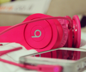 pink, beats, and iphone image