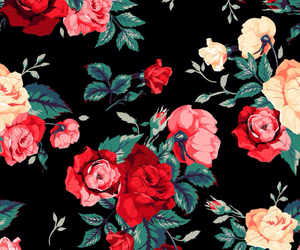black, flower, and pattern image