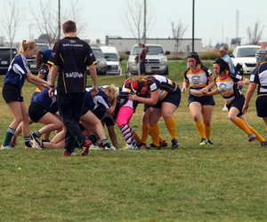 girls, rugby, and ruck image