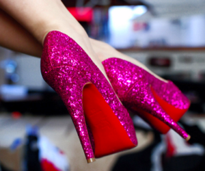 pink shoes, sparkly, and shoes image