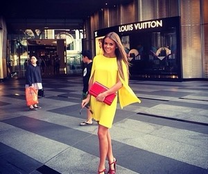 girl, yellow, and Louis Vuitton image