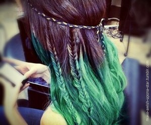 green, hair, and love image