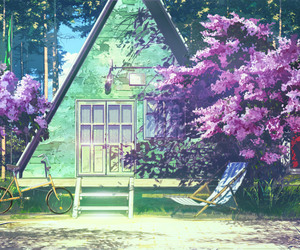 anime, pretty, and trees image