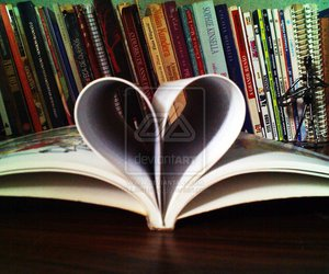 books, heart, and desk image