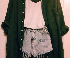 blouse, cardigan, and green image