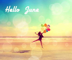 balloons, beach, and blue image