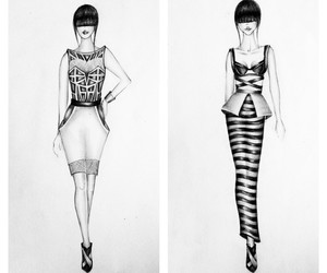 drawing, dress, and pencil image