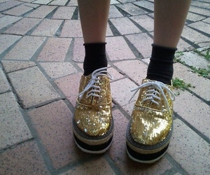 gold, creepers, and shoes image