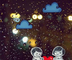 love, rain, and heart image