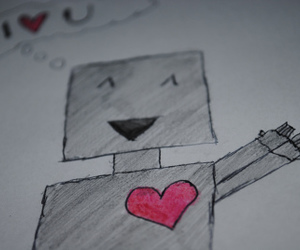 drawings, heart, and robot image