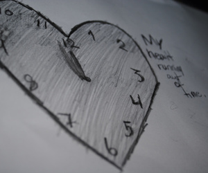 clock, drawings, and text image