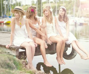 girls, lake, and friends image