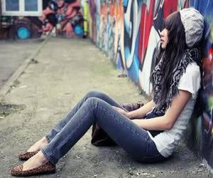 girl, fashion, and graffiti image