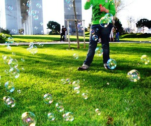 bubbles, friend, and green image