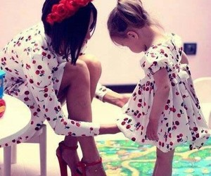 dress, mom, and baby image