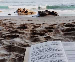beach, book, and sand image