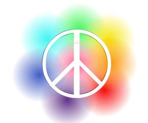 colour, peace sign, and rainbow image