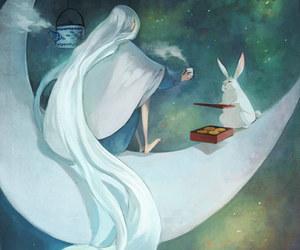 moon, rabbit, and art image