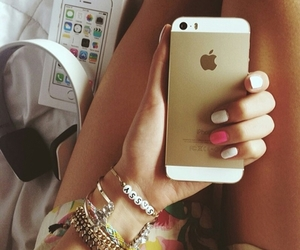 gold, iphone, and cute image
