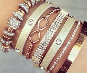 bracelets, gold, and silver image