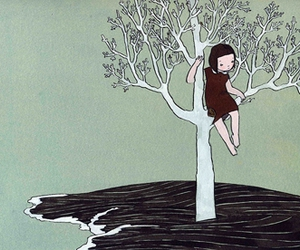 drawing, girl, and tree image