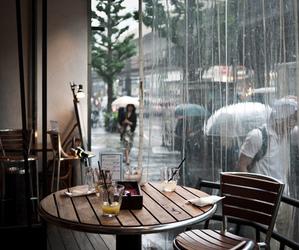 rain, cafe, and coffee image
