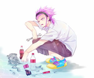 anime, boy, and pink hair image
