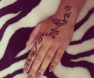 flowers, girl, and henna image
