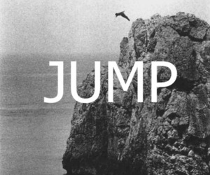 black and white, jump, and seaside image