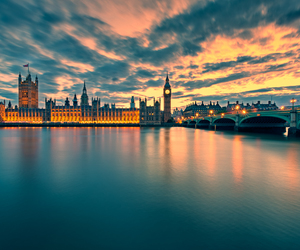 london, sunset, and clouds image
