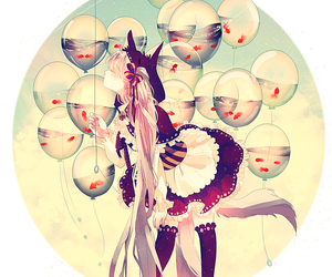 anime, anime girl, and balloons image