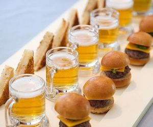 food, beer, and burger image