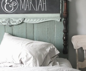 bed, bedroom, and chalkboard image