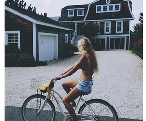 girl, summer, and bike image