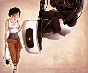 portal, chell, and glados image